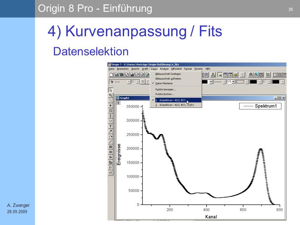 Origin 8 Pro - Einführung 35 A. Zwerger 28.09.2009 4) Kurvenanpassung / Fits Datenselektion