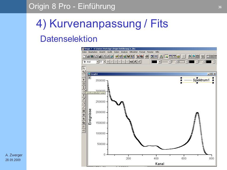 Origin 8 Pro - Einführung 36 A. Zwerger 28.09.2009 4) Kurvenanpassung / Fits Datenselektion