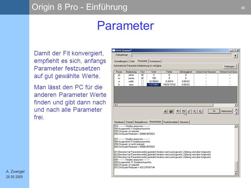Origin 8 Pro - Einführung 45 A. Zwerger 28.09.2009 Parameter Damit der Fit konvergiert, empfiehlt es sich, anfangs Parameter festzusetzen auf gut gewä