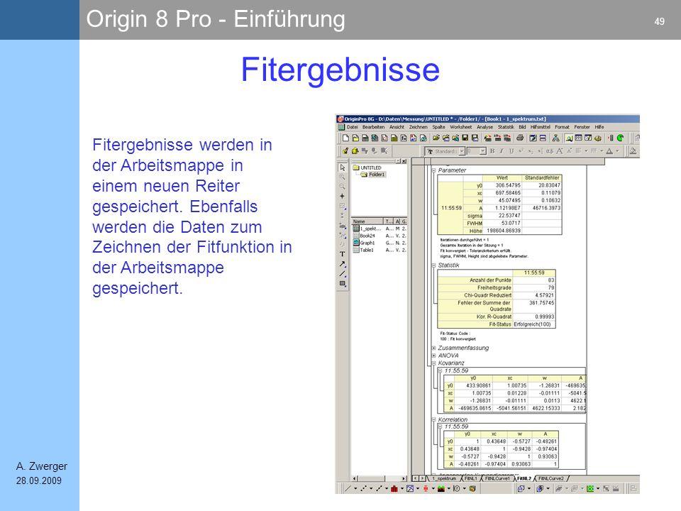 Origin 8 Pro - Einführung 49 A. Zwerger 28.09.2009 Fitergebnisse Fitergebnisse werden in der Arbeitsmappe in einem neuen Reiter gespeichert. Ebenfalls