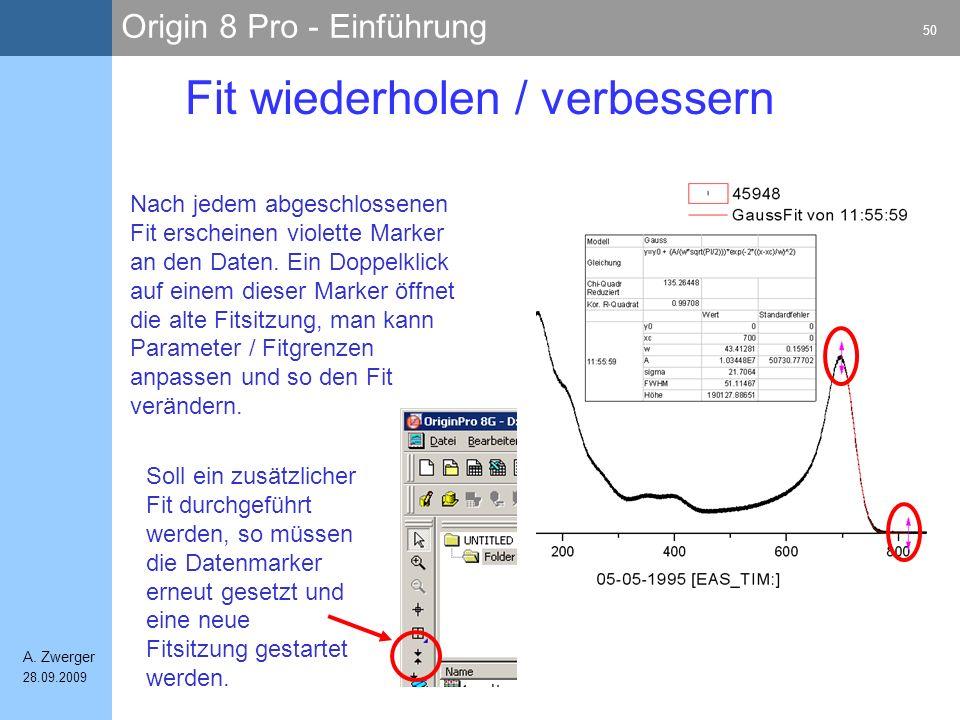 Origin 8 Pro - Einführung 50 A. Zwerger 28.09.2009 Fit wiederholen / verbessern Nach jedem abgeschlossenen Fit erscheinen violette Marker an den Daten