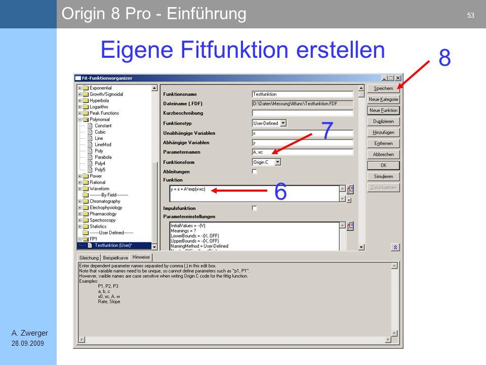 Origin 8 Pro - Einführung 53 A. Zwerger 28.09.2009 Eigene Fitfunktion erstellen 6 7 8