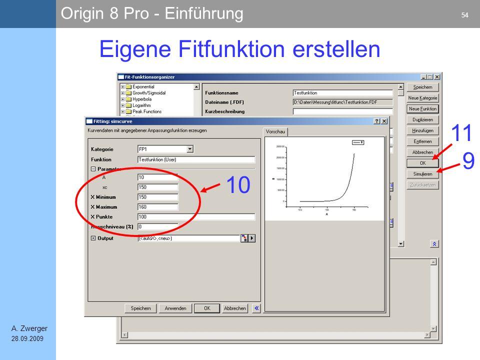 Origin 8 Pro - Einführung 54 A. Zwerger 28.09.2009 Eigene Fitfunktion erstellen 10 9 11