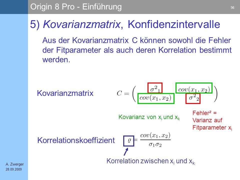 Origin 8 Pro - Einführung 56 A. Zwerger 28.09.2009 5) Kovarianzmatrix, Konfidenzintervalle Aus der Kovarianzmatrix C können sowohl die Fehler der Fitp