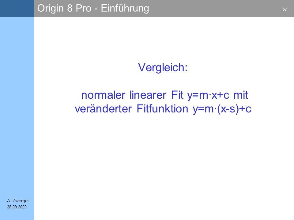 Origin 8 Pro - Einführung 57 A. Zwerger 28.09.2009 Vergleich: normaler linearer Fit y=m·x+c mit veränderter Fitfunktion y=m·(x-s)+c
