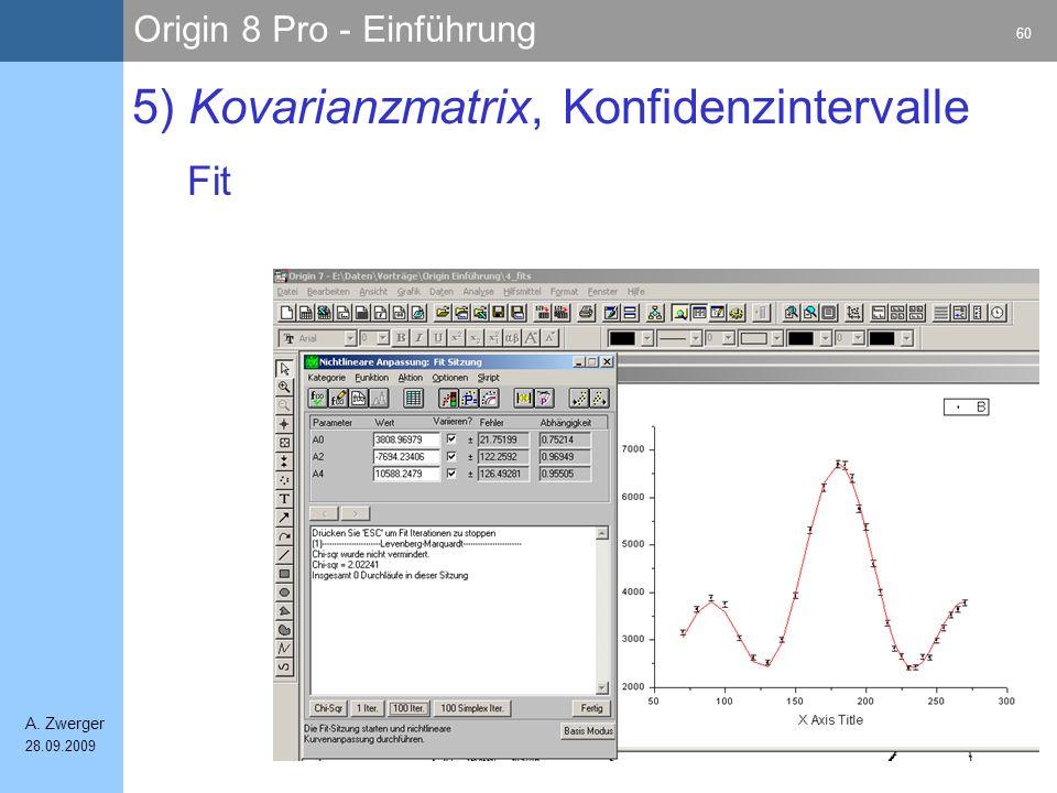 Origin 8 Pro - Einführung 60 A. Zwerger 28.09.2009 5) Kovarianzmatrix, Konfidenzintervalle Fit