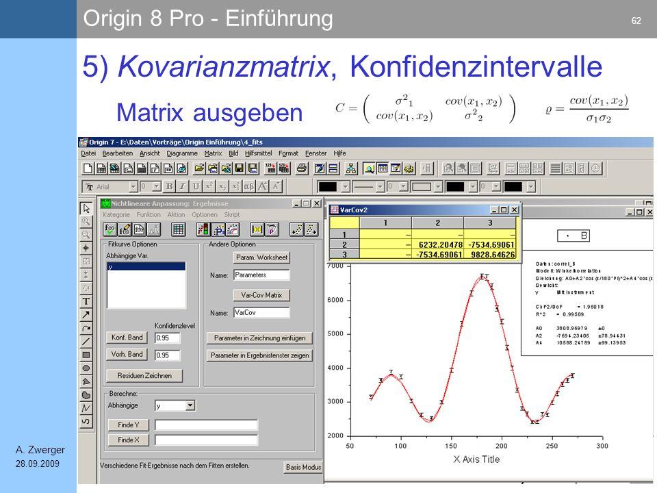Origin 8 Pro - Einführung 62 A. Zwerger 28.09.2009 Matrix ausgeben 5) Kovarianzmatrix, Konfidenzintervalle