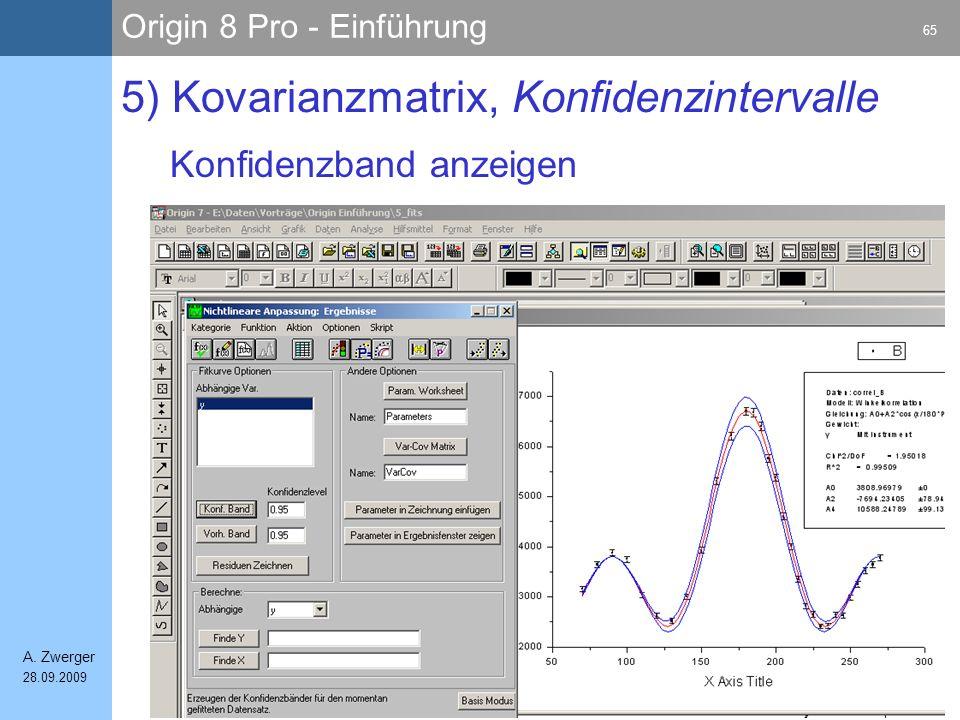Origin 8 Pro - Einführung 65 A. Zwerger 28.09.2009 Konfidenzband anzeigen 5) Kovarianzmatrix, Konfidenzintervalle