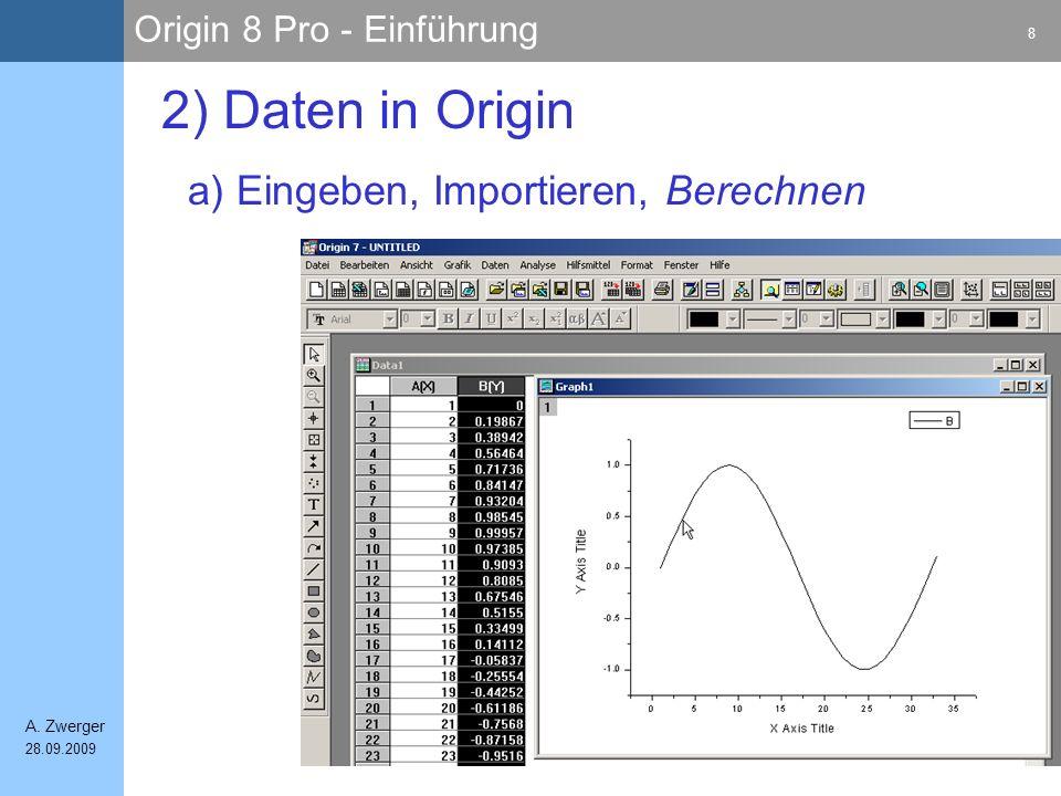 Origin 8 Pro - Einführung 8 A. Zwerger 28.09.2009 a) Eingeben, Importieren, Berechnen 2) Daten in Origin