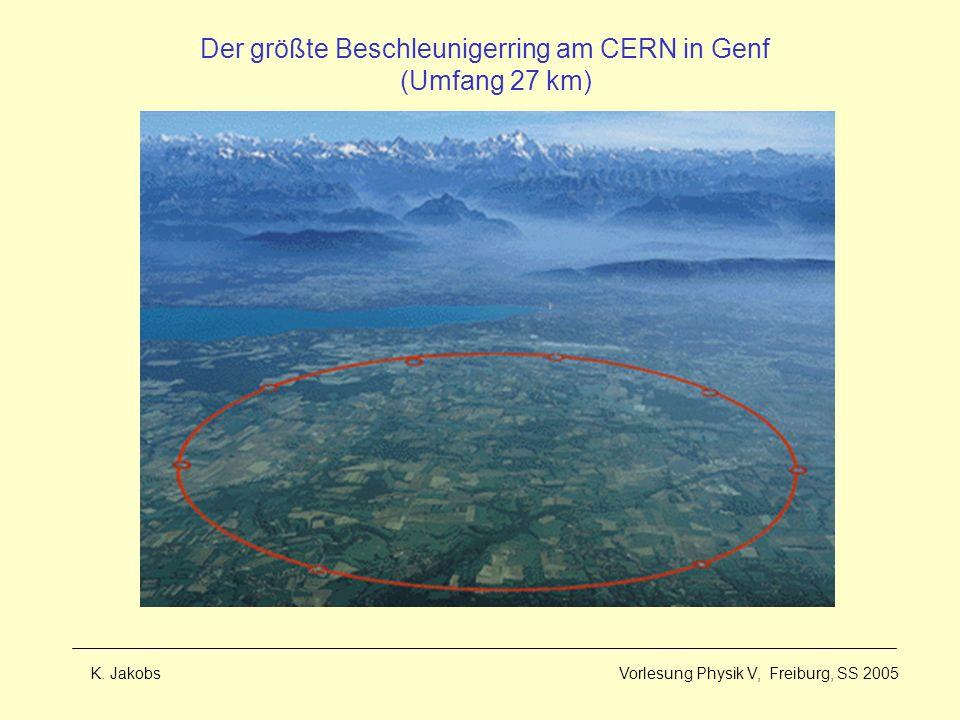 K. Jakobs Vorlesung Physik V, Freiburg, SS 2005 Der größte Beschleunigerring am CERN in Genf (Umfang 27 km)