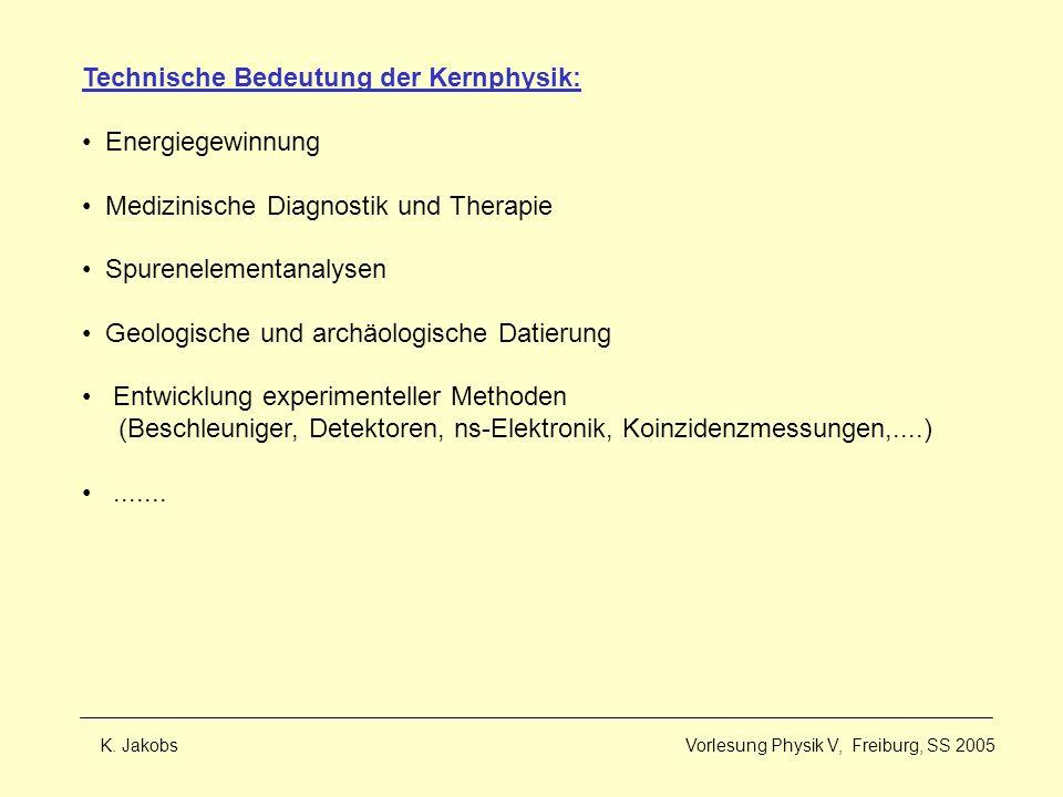 K. Jakobs Vorlesung Physik V, Freiburg, SS 2005 Technische Bedeutung der Kernphysik: Energiegewinnung Medizinische Diagnostik und Therapie Spureneleme