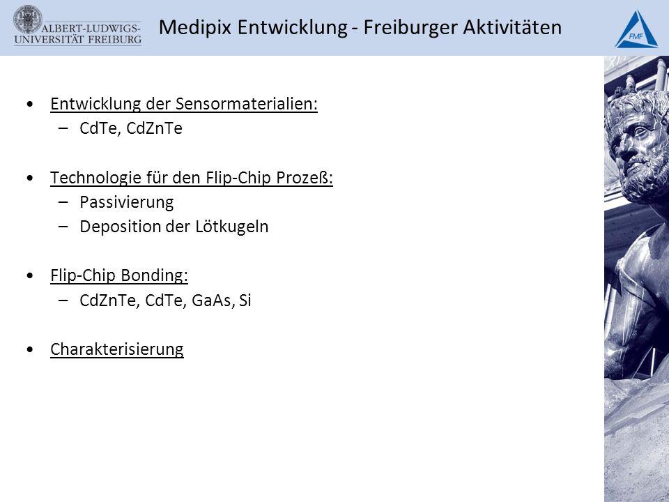 Entwicklung der Sensormaterialien: –CdTe, CdZnTe Technologie für den Flip-Chip Prozeß: –Passivierung –Deposition der Lötkugeln Flip-Chip Bonding: –CdZ