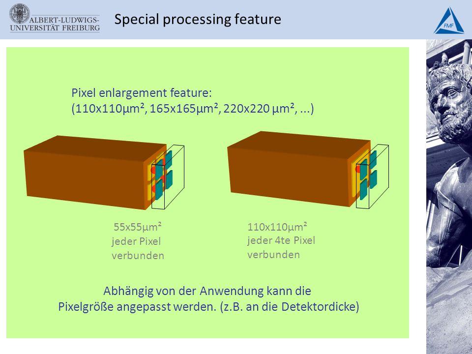 Special processing feature Abhängig von der Anwendung kann die Pixelgröße angepasst werden. (z.B. an die Detektordicke) jeder 4te Pixel verbunden jede