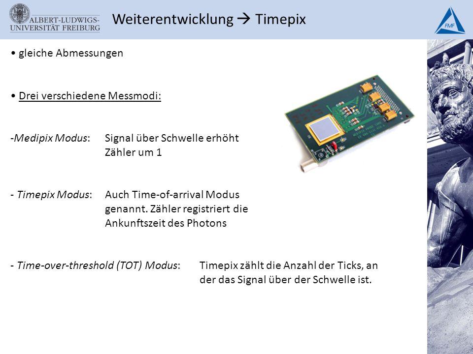 Weiterentwicklung Timepix gleiche Abmessungen Drei verschiedene Messmodi: -Medipix Modus: Signal über Schwelle erhöht Zähler um 1 - Timepix Modus:Auch