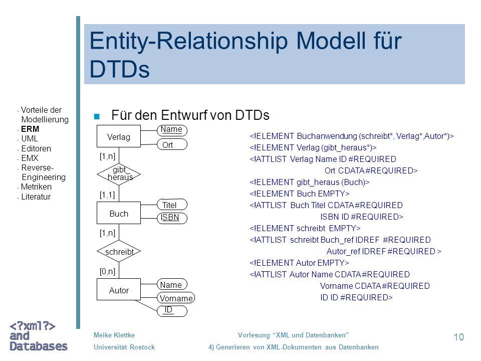 10 Meike Klettke Universität Rostock Vorlesung XML und Datenbanken 4) Generieren von XML-Dokumenten aus Datenbanken Entity-Relationship Modell für DTD
