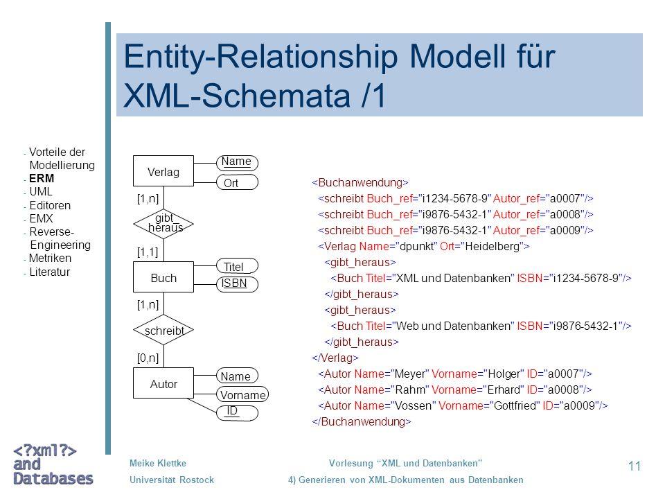 11 Meike Klettke Universität Rostock Vorlesung XML und Datenbanken 4) Generieren von XML-Dokumenten aus Datenbanken Entity-Relationship Modell für XML