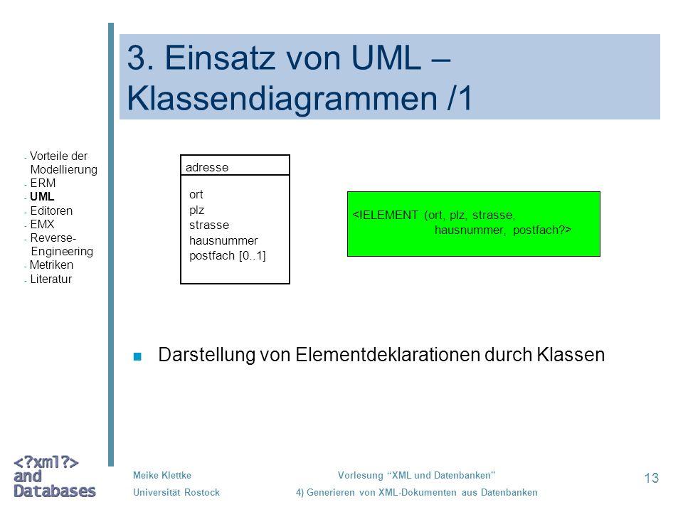 13 Meike Klettke Universität Rostock Vorlesung XML und Datenbanken 4) Generieren von XML-Dokumenten aus Datenbanken 3. Einsatz von UML – Klassendiagra