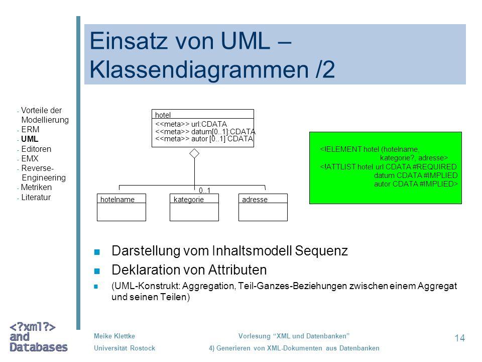 14 Meike Klettke Universität Rostock Vorlesung XML und Datenbanken 4) Generieren von XML-Dokumenten aus Datenbanken Einsatz von UML – Klassendiagramme