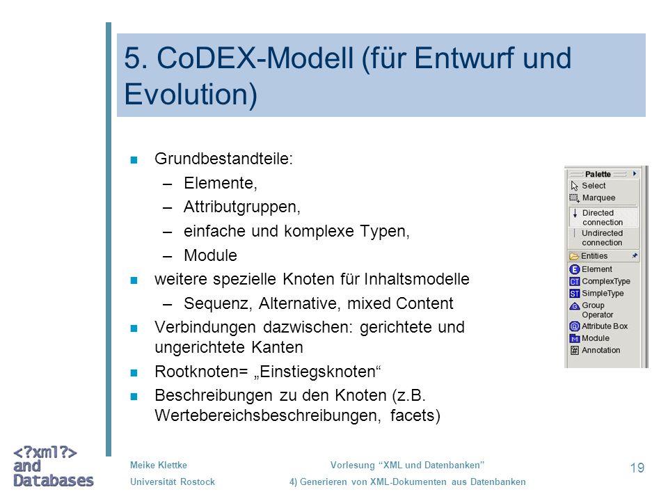 19 Meike Klettke Universität Rostock Vorlesung XML und Datenbanken 4) Generieren von XML-Dokumenten aus Datenbanken 5. CoDEX-Modell (für Entwurf und E
