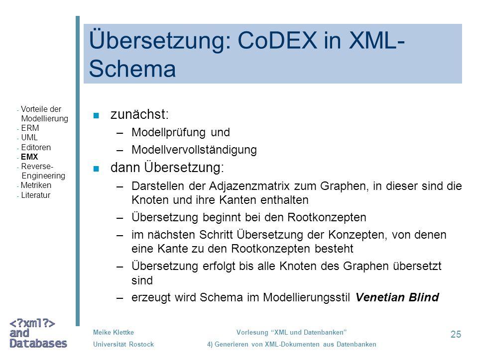 25 Meike Klettke Universität Rostock Vorlesung XML und Datenbanken 4) Generieren von XML-Dokumenten aus Datenbanken Übersetzung: CoDEX in XML- Schema