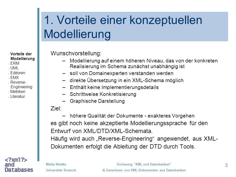 3 Meike Klettke Universität Rostock Vorlesung XML und Datenbanken 4) Generieren von XML-Dokumenten aus Datenbanken 1. Vorteile einer konzeptuellen Mod