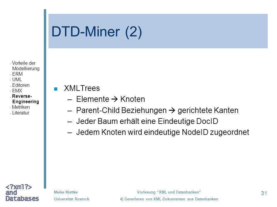 31 Meike Klettke Universität Rostock Vorlesung XML und Datenbanken 4) Generieren von XML-Dokumenten aus Datenbanken DTD-Miner (2) n XMLTrees –Elemente