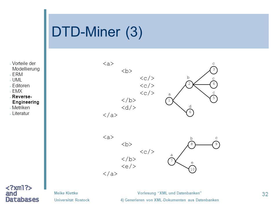 32 Meike Klettke Universität Rostock Vorlesung XML und Datenbanken 4) Generieren von XML-Dokumenten aus Datenbanken DTD-Miner (3) - Vorteile der Model