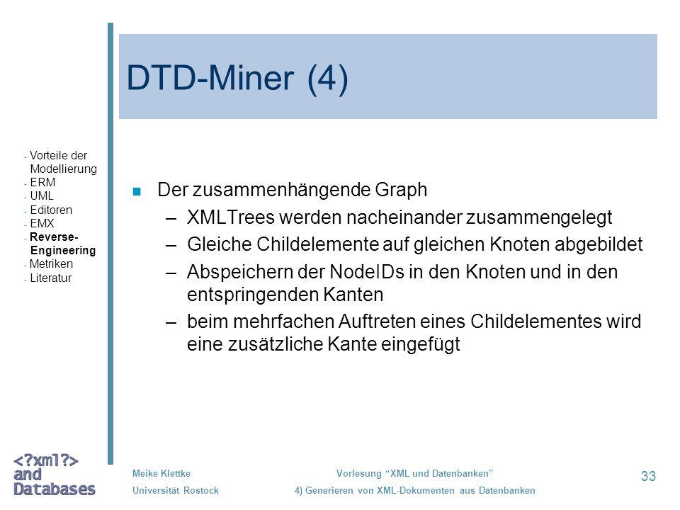 33 Meike Klettke Universität Rostock Vorlesung XML und Datenbanken 4) Generieren von XML-Dokumenten aus Datenbanken DTD-Miner (4) n Der zusammenhängen