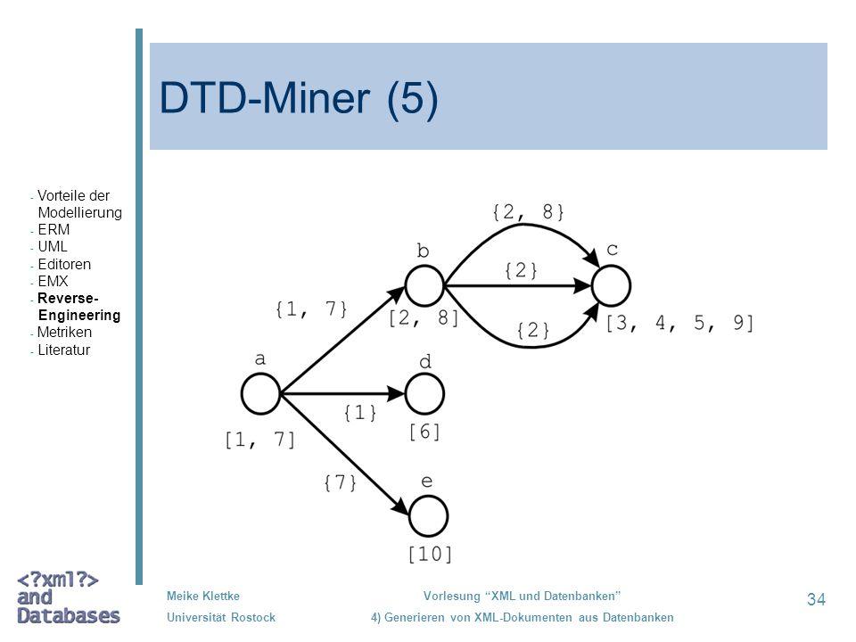 34 Meike Klettke Universität Rostock Vorlesung XML und Datenbanken 4) Generieren von XML-Dokumenten aus Datenbanken DTD-Miner (5) - Vorteile der Model