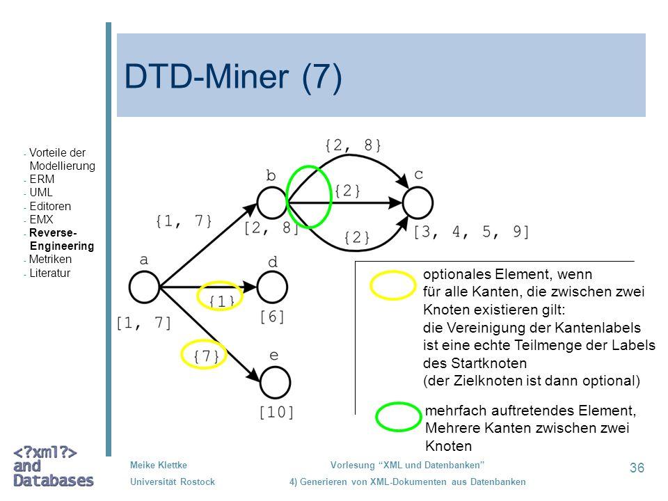 36 Meike Klettke Universität Rostock Vorlesung XML und Datenbanken 4) Generieren von XML-Dokumenten aus Datenbanken DTD-Miner (7) optionales Element,