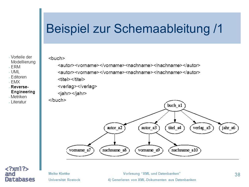 38 Meike Klettke Universität Rostock Vorlesung XML und Datenbanken 4) Generieren von XML-Dokumenten aus Datenbanken Beispiel zur Schemaableitung /1 -