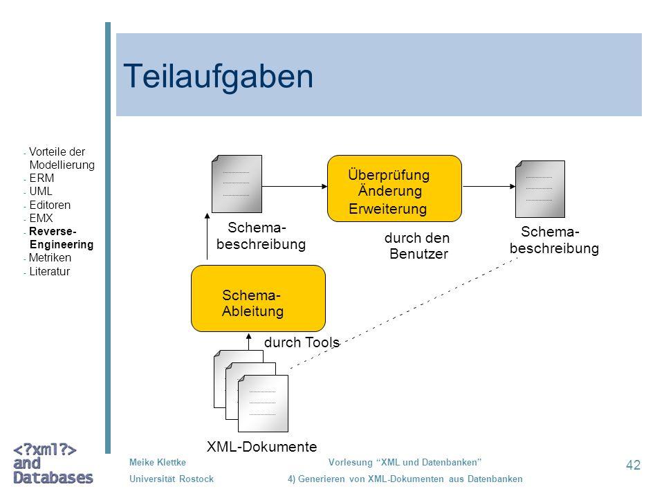 42 Meike Klettke Universität Rostock Vorlesung XML und Datenbanken 4) Generieren von XML-Dokumenten aus Datenbanken Teilaufgaben XML-Dokumente beschre