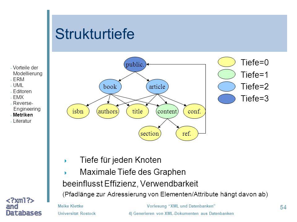 54 Meike Klettke Universität Rostock Vorlesung XML und Datenbanken 4) Generieren von XML-Dokumenten aus Datenbanken Strukturtiefe Tiefe=0 Tiefe=1 Tief