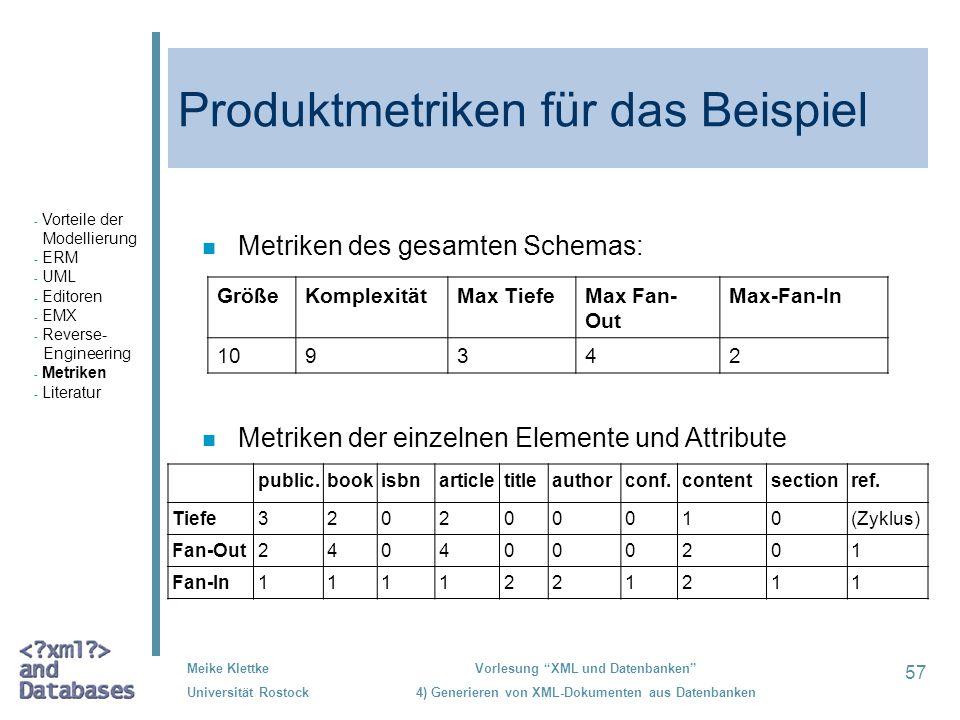 57 Meike Klettke Universität Rostock Vorlesung XML und Datenbanken 4) Generieren von XML-Dokumenten aus Datenbanken Produktmetriken für das Beispiel G