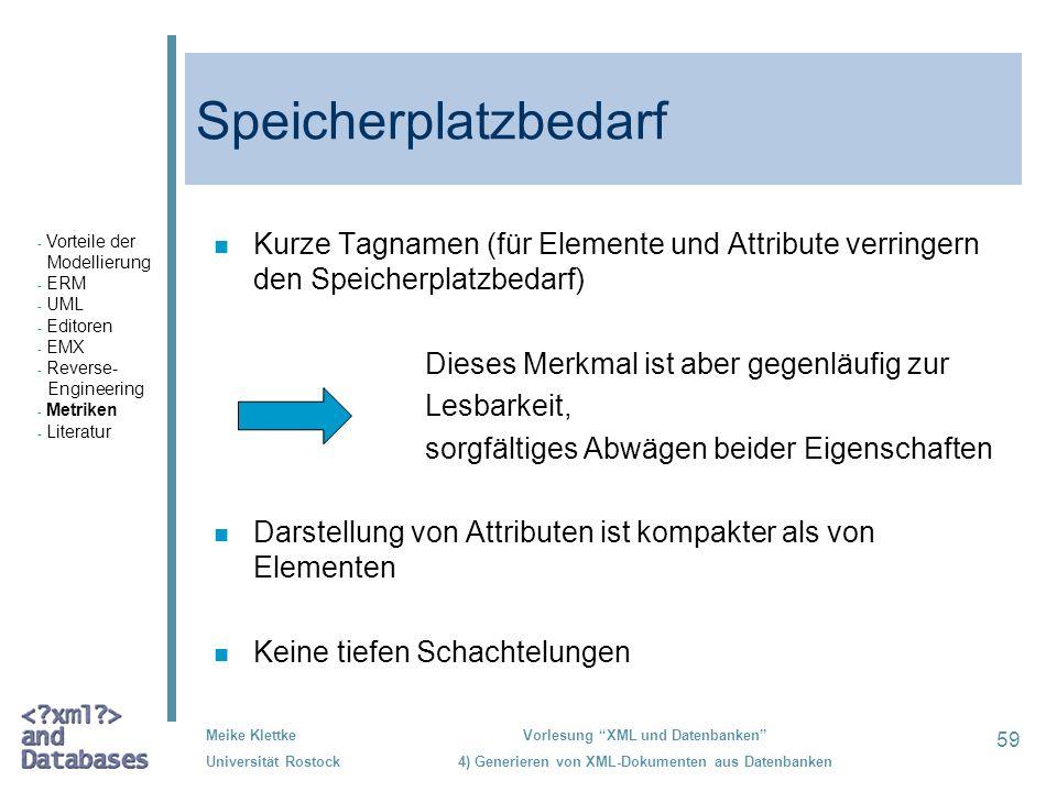 59 Meike Klettke Universität Rostock Vorlesung XML und Datenbanken 4) Generieren von XML-Dokumenten aus Datenbanken Speicherplatzbedarf n Kurze Tagnam