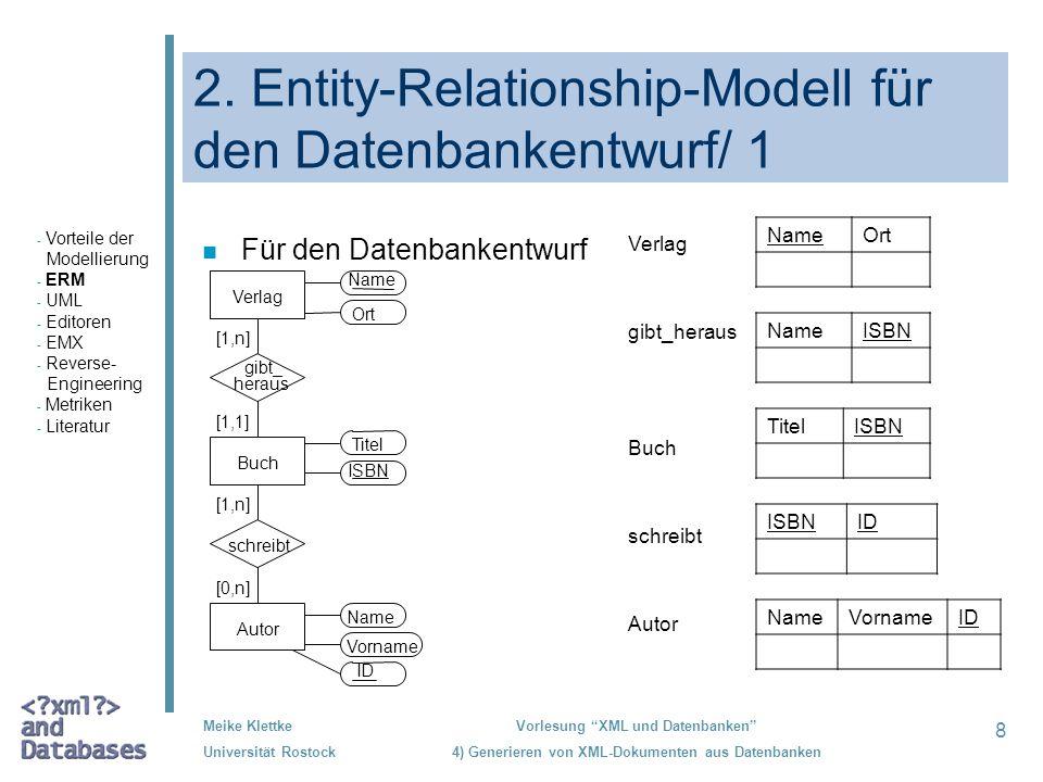 8 Meike Klettke Universität Rostock Vorlesung XML und Datenbanken 4) Generieren von XML-Dokumenten aus Datenbanken 2. Entity-Relationship-Modell für d