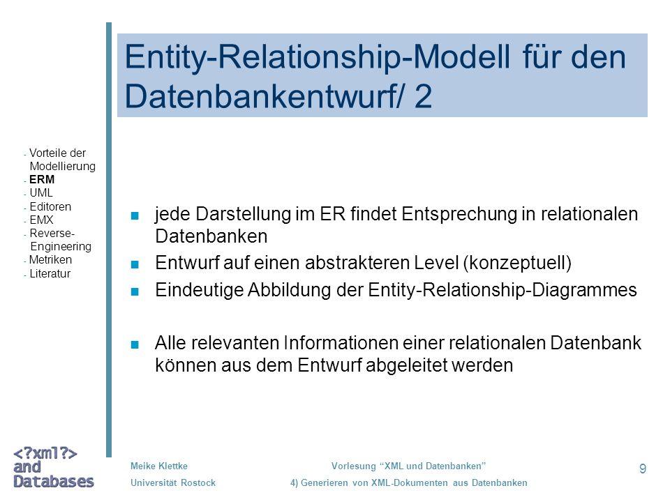 9 Meike Klettke Universität Rostock Vorlesung XML und Datenbanken 4) Generieren von XML-Dokumenten aus Datenbanken Entity-Relationship-Modell für den