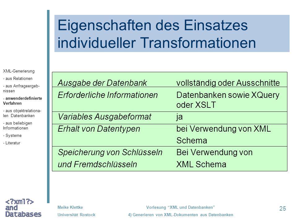 25 Meike Klettke Universität Rostock Vorlesung XML und Datenbanken 4) Generieren von XML-Dokumenten aus Datenbanken Eigenschaften des Einsatzes indivi