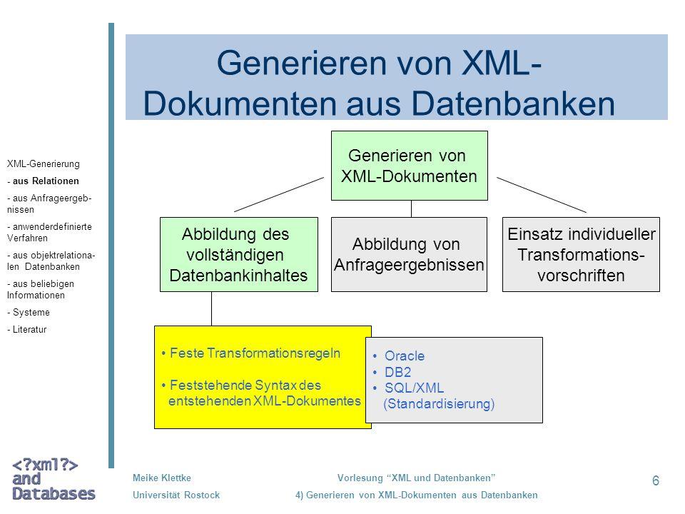 27 Meike Klettke Universität Rostock Vorlesung XML und Datenbanken 4) Generieren von XML-Dokumenten aus Datenbanken Varianten zum Einsatz individueller Transformationsregeln DOM/SAX XML-Sicht Transforma- tionsregeln SQL/XML XML- Dokument relationale Datenbank besonders geeignet für die Weiterverarbeitung in anderen Programmen XML-Generierung - aus Relationen - aus Anfrageergeb- nissen - anwenderdefinierte Verfahren - aus objektrelationa- len Datenbanken - aus beliebigen Informationen - Systeme - Literatur
