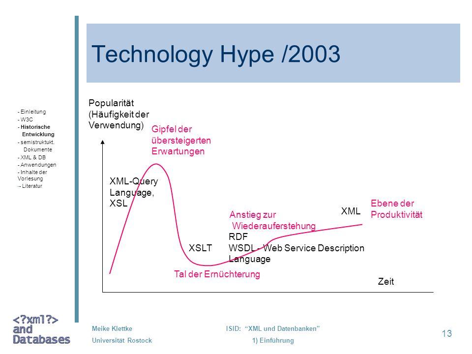 13 Meike Klettke Universität Rostock ISID: XML und Datenbanken 1) Einführung Technology Hype /2003 - Einleitung - W3C - Historische Entwicklung - semi