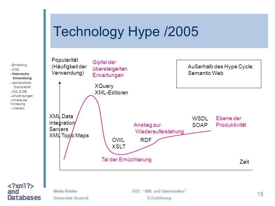 15 Meike Klettke Universität Rostock ISID: XML und Datenbanken 1) Einführung Technology Hype /2005 - Einleitung - W3C - Historische Entwicklung - semi