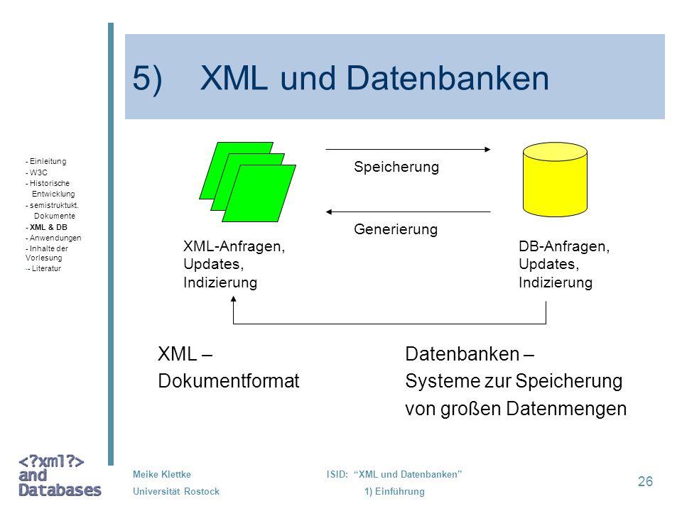26 Meike Klettke Universität Rostock ISID: XML und Datenbanken 1) Einführung 5) XML und Datenbanken XML – Datenbanken – Dokumentformat Systeme zur Spe