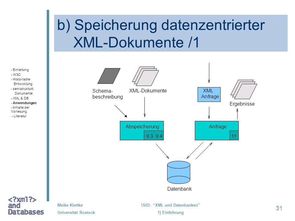 31 Meike Klettke Universität Rostock ISID: XML und Datenbanken 1) Einführung b) Speicherung datenzentrierter XML-Dokumente /1 Datenbank AnfrageAbspeic