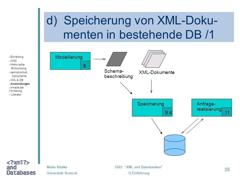 35 Meike Klettke Universität Rostock ISID: XML und Datenbanken 1) Einführung d) Speicherung von XML-Doku- menten in bestehende DB /1 XML-Dokumente Sch