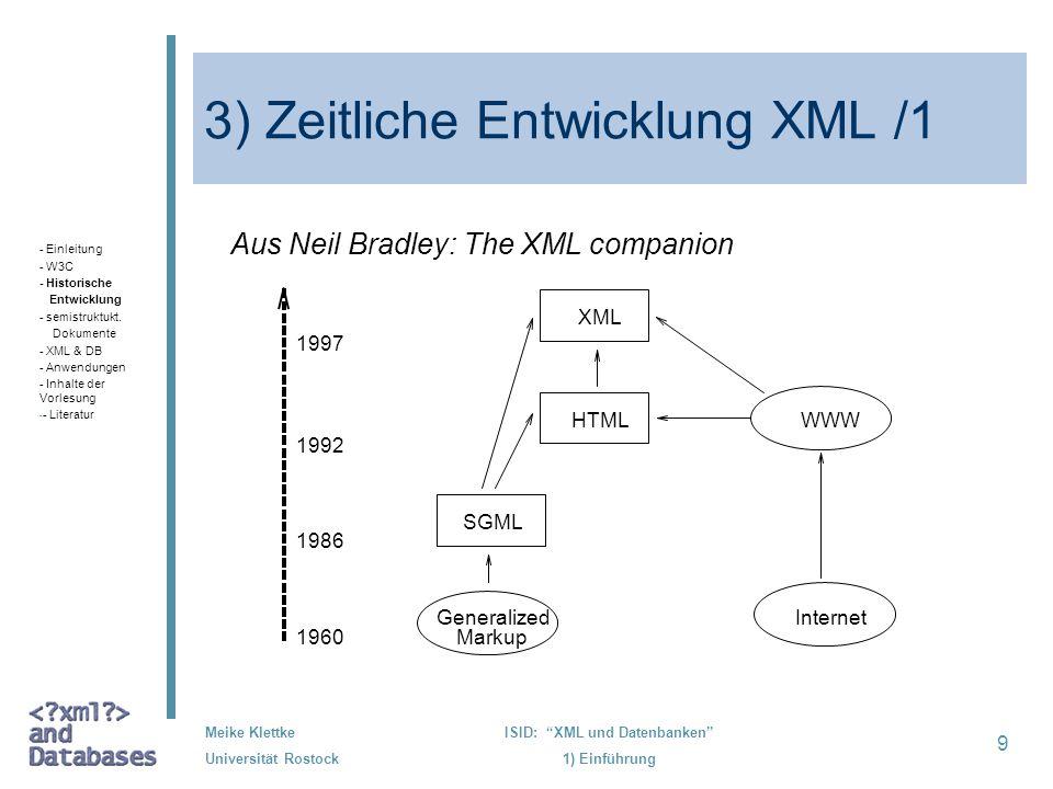9 Meike Klettke Universität Rostock ISID: XML und Datenbanken 1) Einführung 3) Zeitliche Entwicklung XML /1 Aus Neil Bradley: The XML companion 1997 1
