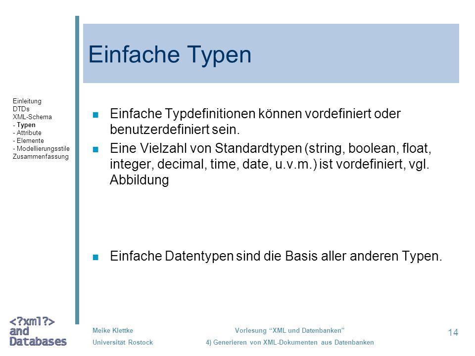 14 Meike Klettke Universität Rostock Vorlesung XML und Datenbanken 4) Generieren von XML-Dokumenten aus Datenbanken Einfache Typen n Einfache Typdefinitionen können vordefiniert oder benutzerdefiniert sein.