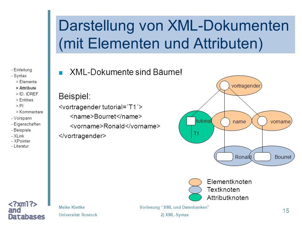 Meike Klettke Universität Rostock Vorlesung XML und Datenbanken 2) XML-Syntax 15 Darstellung von XML-Dokumenten (mit Elementen und Attributen) n XML-D
