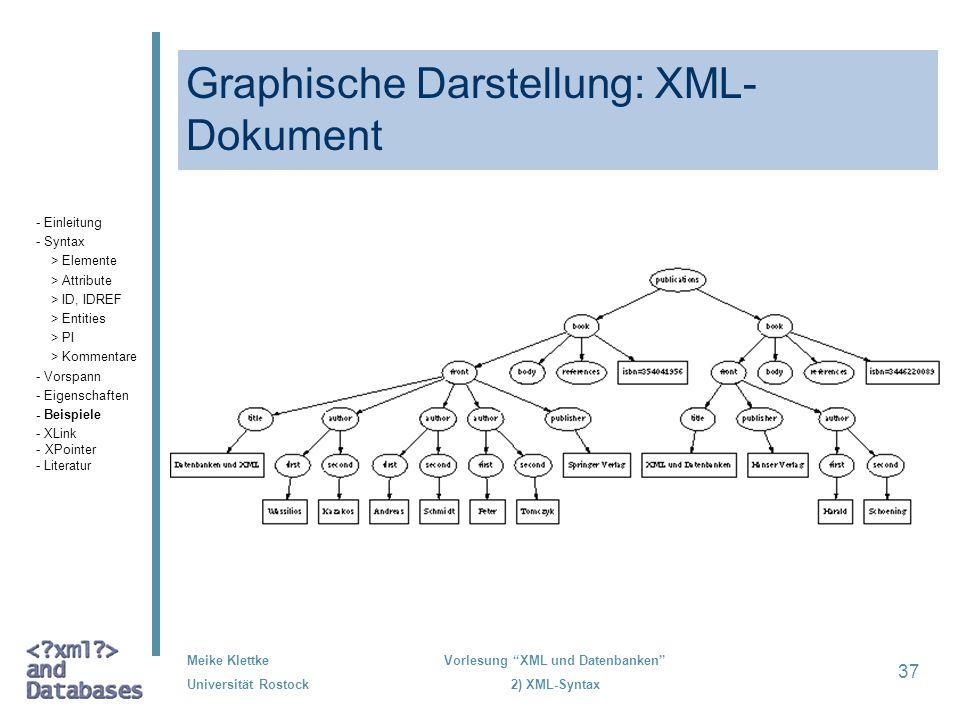Meike Klettke Universität Rostock Vorlesung XML und Datenbanken 2) XML-Syntax 37 Graphische Darstellung: XML- Dokument - Einleitung - Syntax > Element