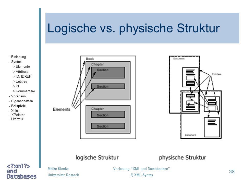 Meike Klettke Universität Rostock Vorlesung XML und Datenbanken 2) XML-Syntax 38 Logische vs. physische Struktur - Einleitung - Syntax > Elemente > At