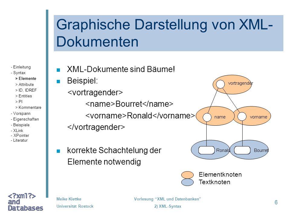 Meike Klettke Universität Rostock Vorlesung XML und Datenbanken 2) XML-Syntax 6 Graphische Darstellung von XML- Dokumenten n XML-Dokumente sind Bäume!